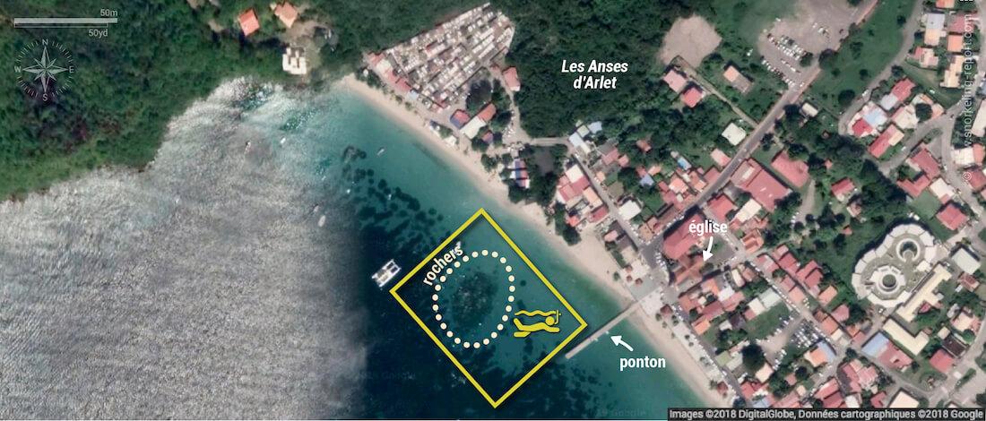 Carte snorkeling aux Anses d'Arlet, Martinique