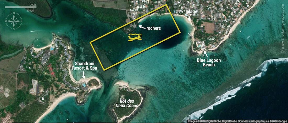 Carte snorkeling à Blue Bay, Île Maurice