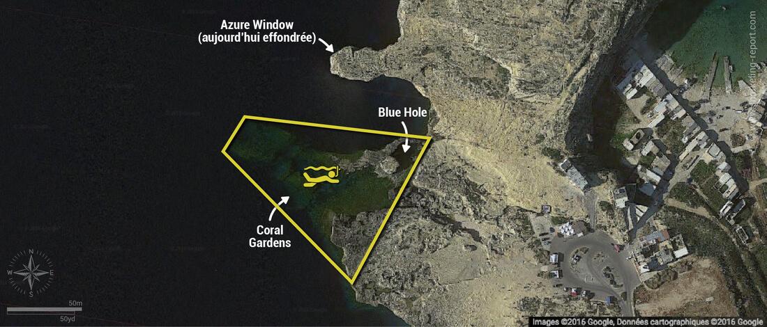 Carte snorkeling au Blue Hole de Gozo, Malte
