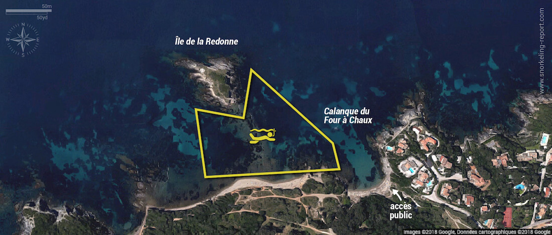 Carte snorkeling à la Calanque du Four à Chaux, Hyères