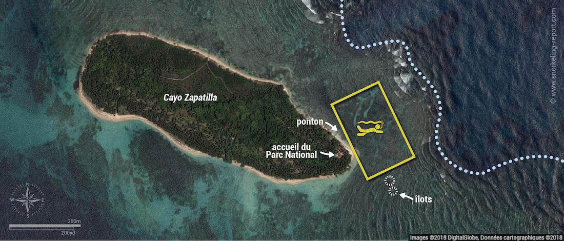 Carte snorkeling à Cayo Zapatilla, Bocas del Toro