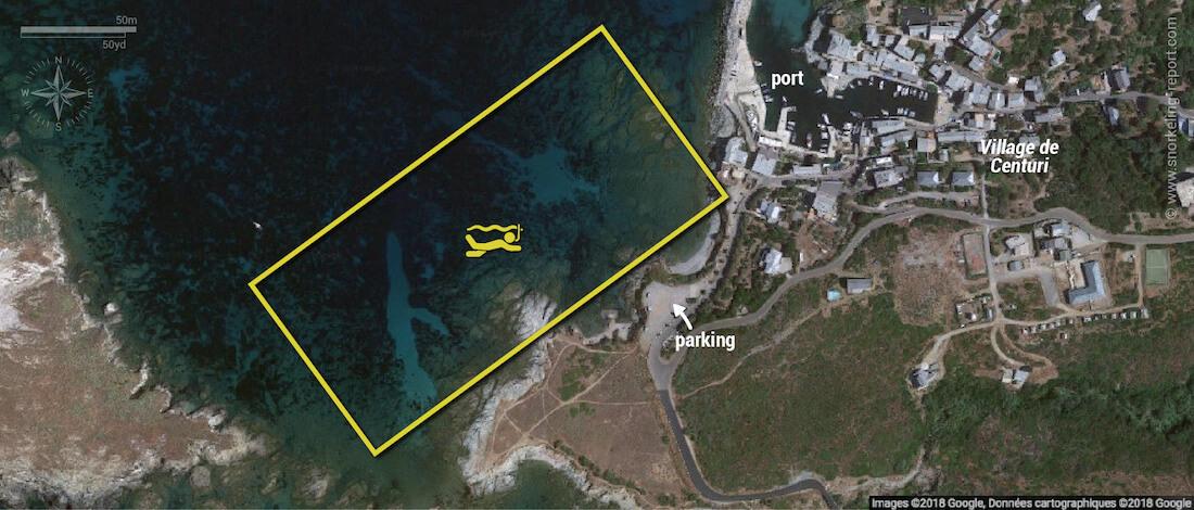 Carte snorkeling à Centuri, Corse