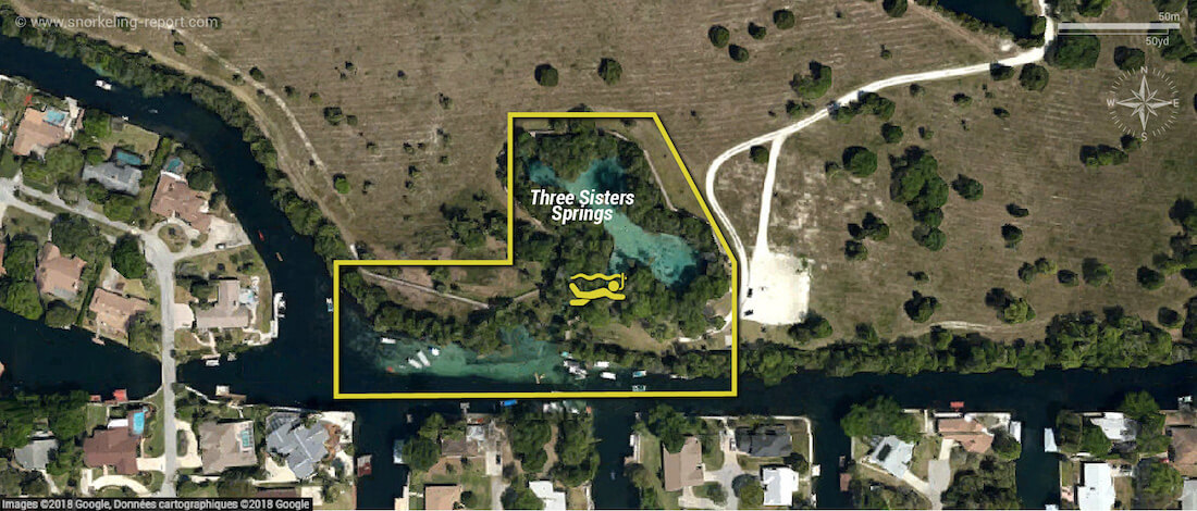 Carte snorkeling à Crystal River, Floride