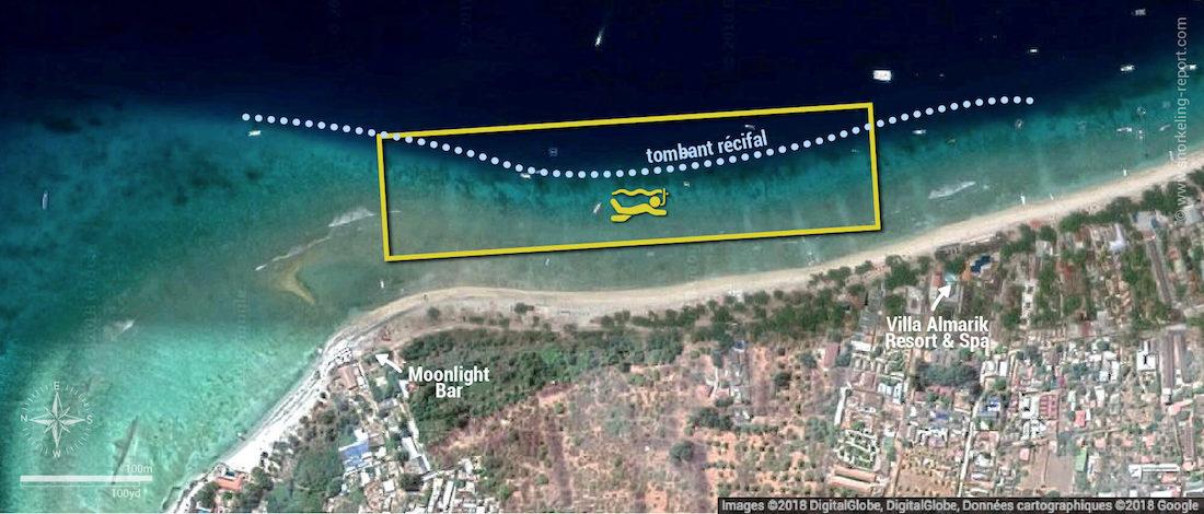 Carte snorkeling à Gili Trawangan, Indonésie