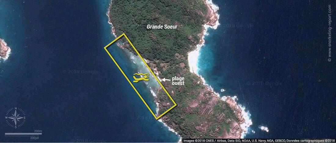 Carte snorkeling à Grande Soeur, Seychelles