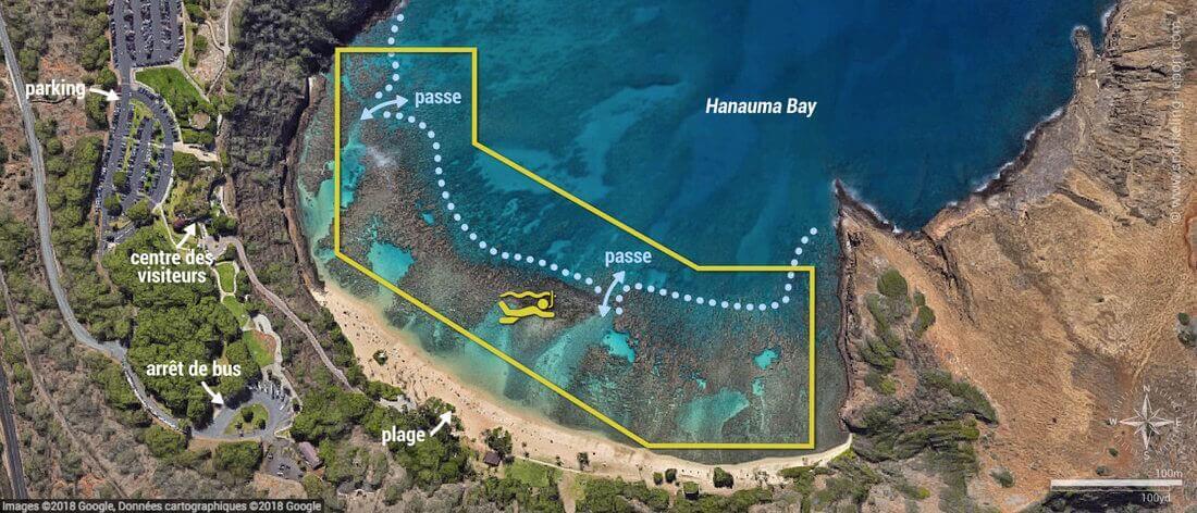 Carte snorkeling à Hanauma Bay, Oahu, Hawaï