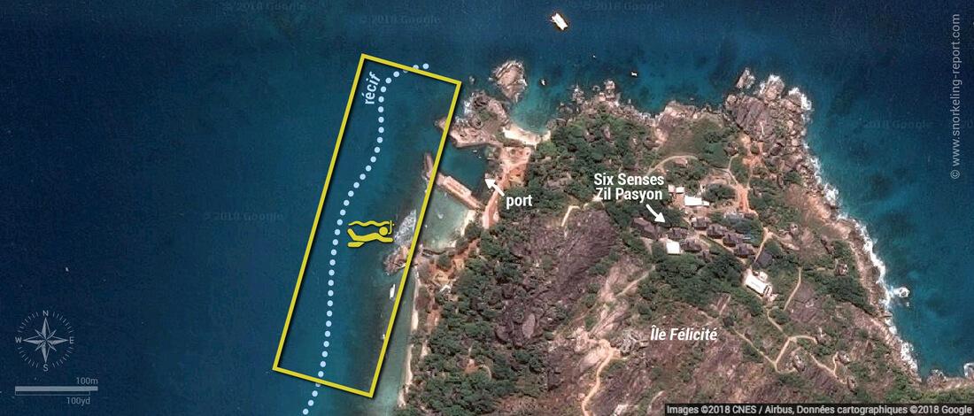Carte snorkeling à l'île Félicité, Seychelles