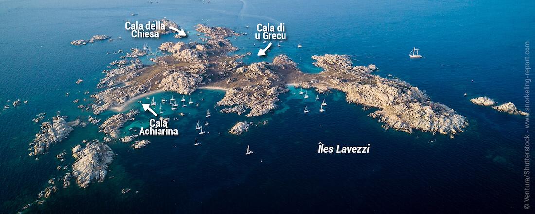 Carte snorkeling aux îles Lavezzi