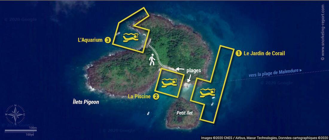 Carte snorkeling aux Îlets Pigeon - Réserve Cousteau