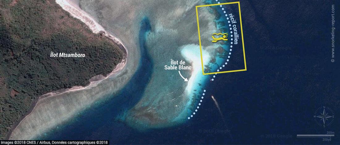 Carte snorkeling à l'îlot de Sable Blanc du Nord, Mayotte
