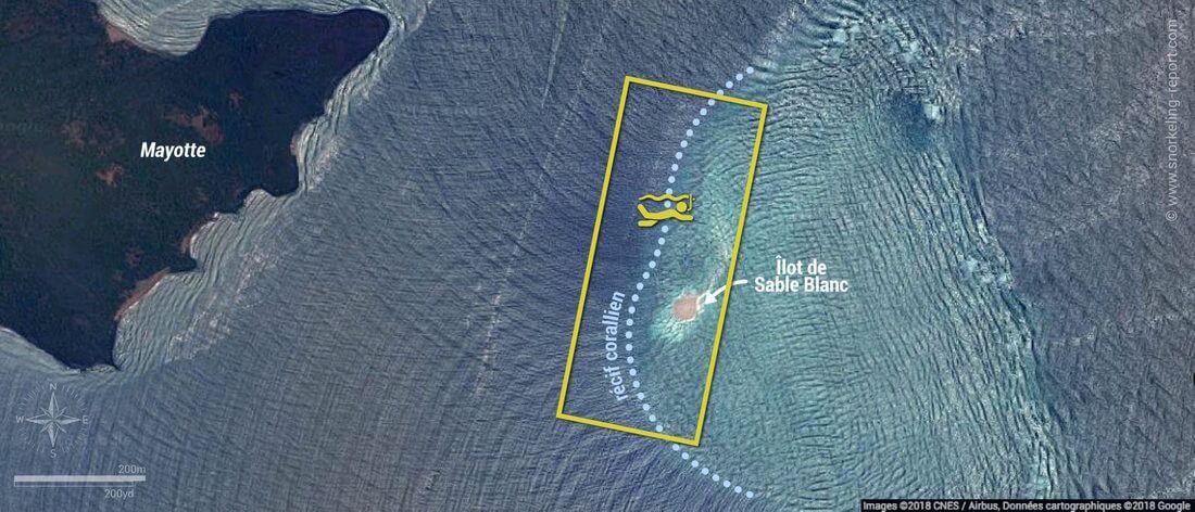 Carte snorkeling à l'îlot de Sable Blanc du Sud, Mayotte