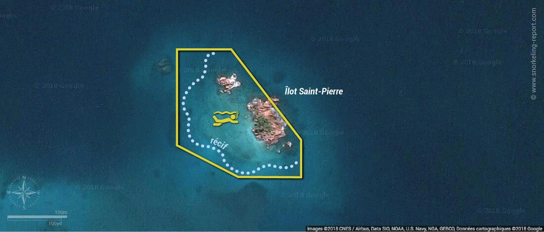 Carte snorkeling à l'îlot Saint-Pierre, Praslin, Seychelles