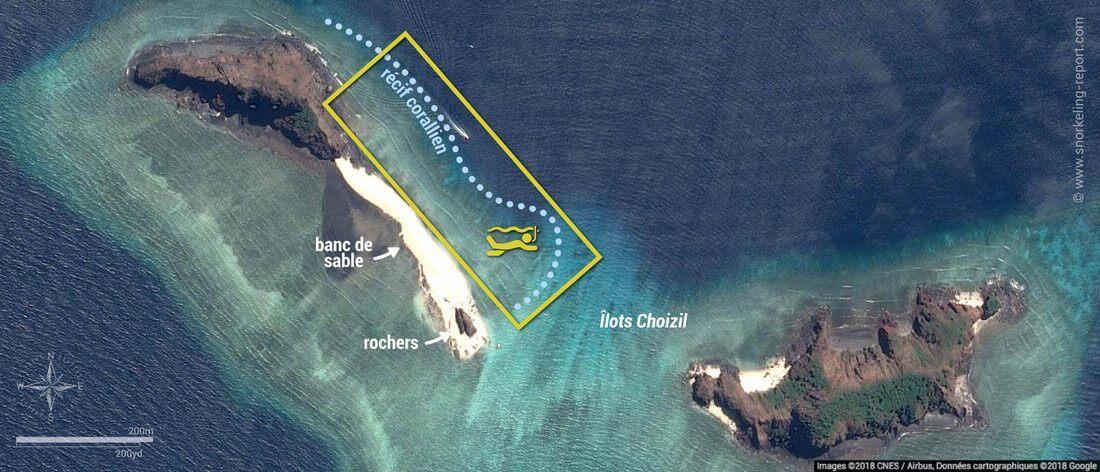 Carte snorkeling aux îlots Choizil, Mayotte