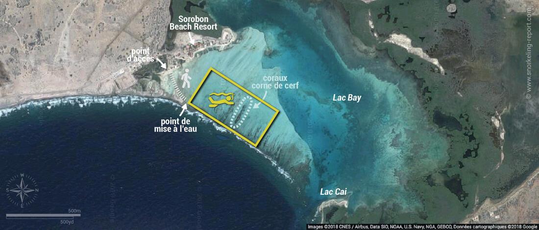 Carte snorkeling à Lac Bay - Sorobon Beach, Bonaire