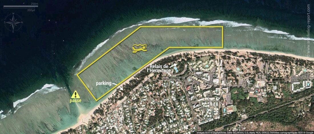 Carte snorkeling au lagon de l'Hermitage, île de la Réunion