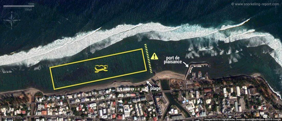 Carte snorkeling à Saint-Leu, île de la Réunion