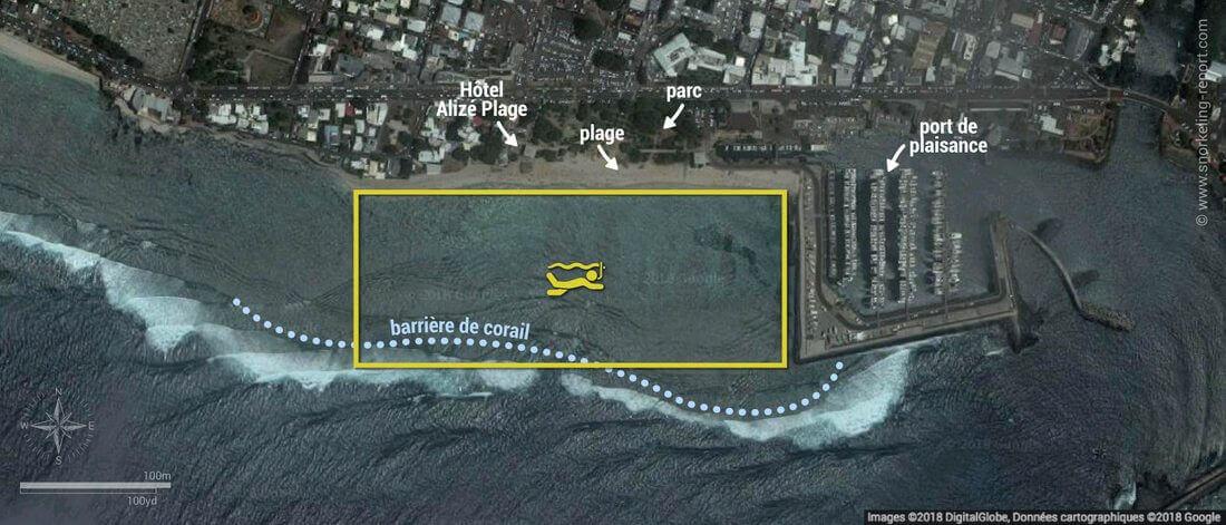 Carte snorkeling au lagon de Saint-Pierre, île de la Réunion