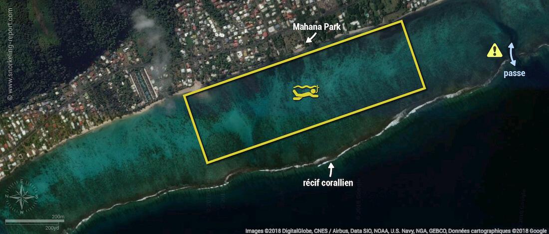 Carte snorkeling au Mahana Park, Tahiti