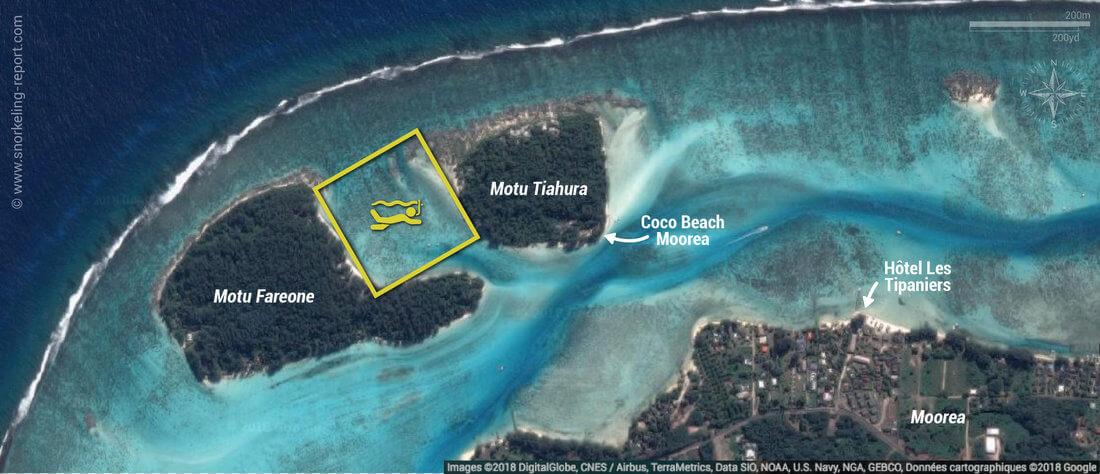 Carte snorkeling au Motu Fareone, Moorea