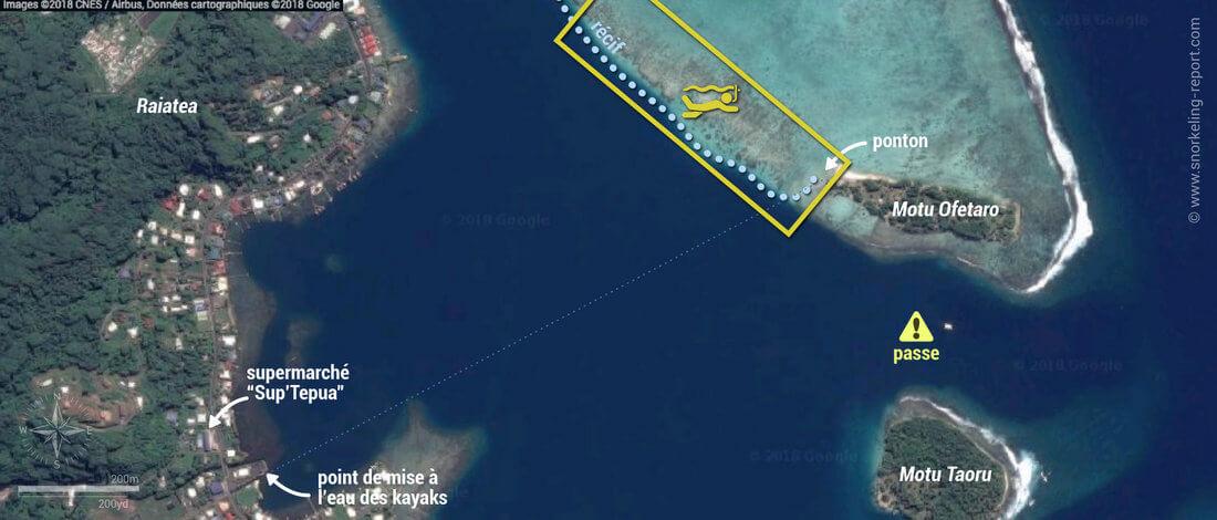 Carte snorkeling au Motu Ofetaro, Raiatea