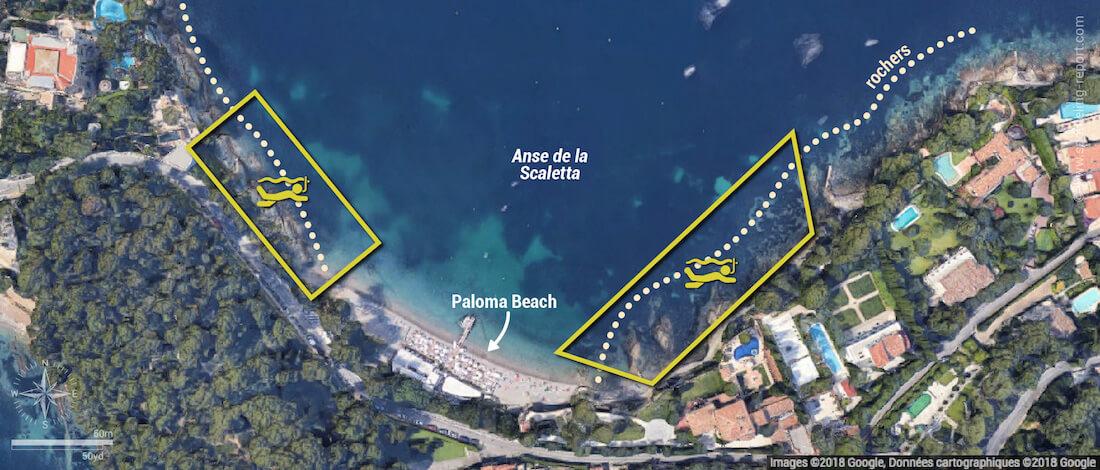 Carte snorkeling à Paloma Beach, Saint-Jean-Cap-Ferrat