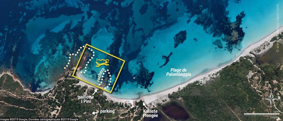 Carte snorkeling à Palombaggia, Corse