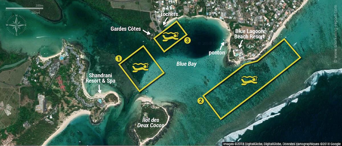 Carte snorkeling dans le Parc marin de Blue Bay, Île Maurice