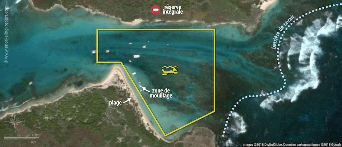 Carte snorkeling à Petite Terre, Guadeloupe