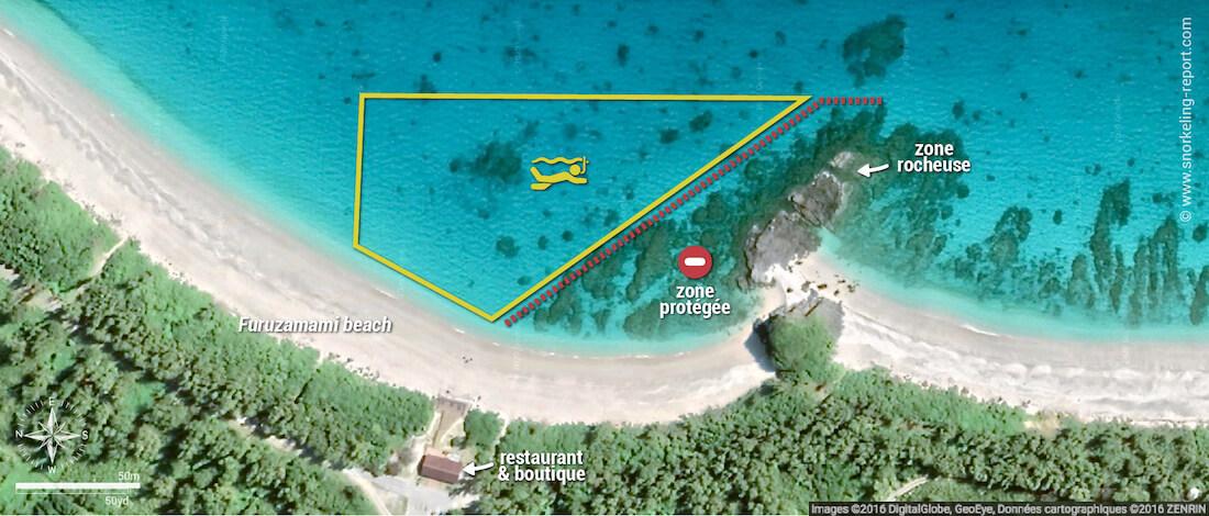 Carte snorkeling à la plage de Furuzamami