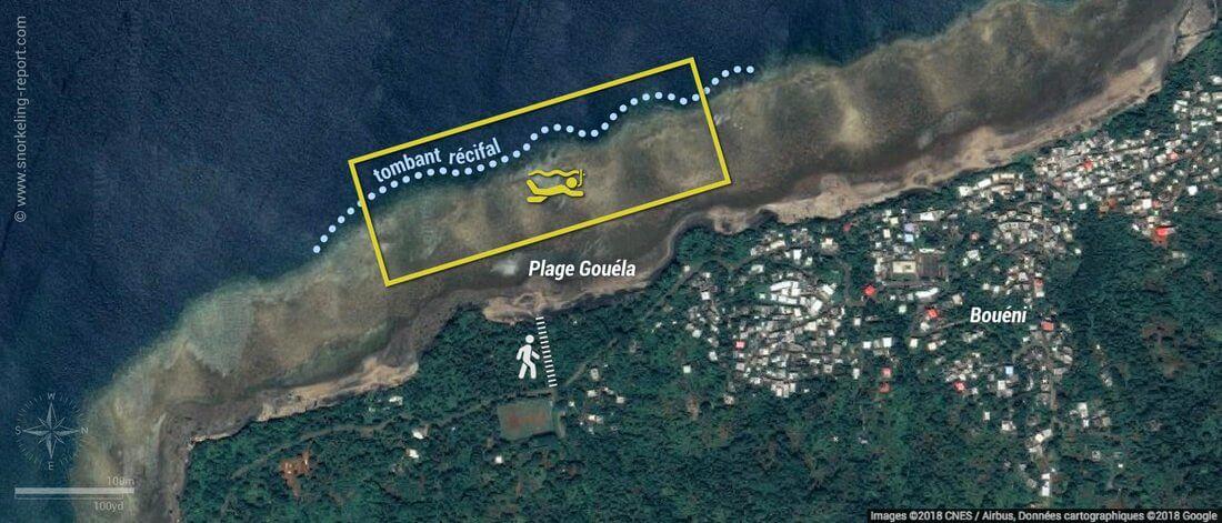 Carte snorkeling à la Plage Gouéla, Mayotte