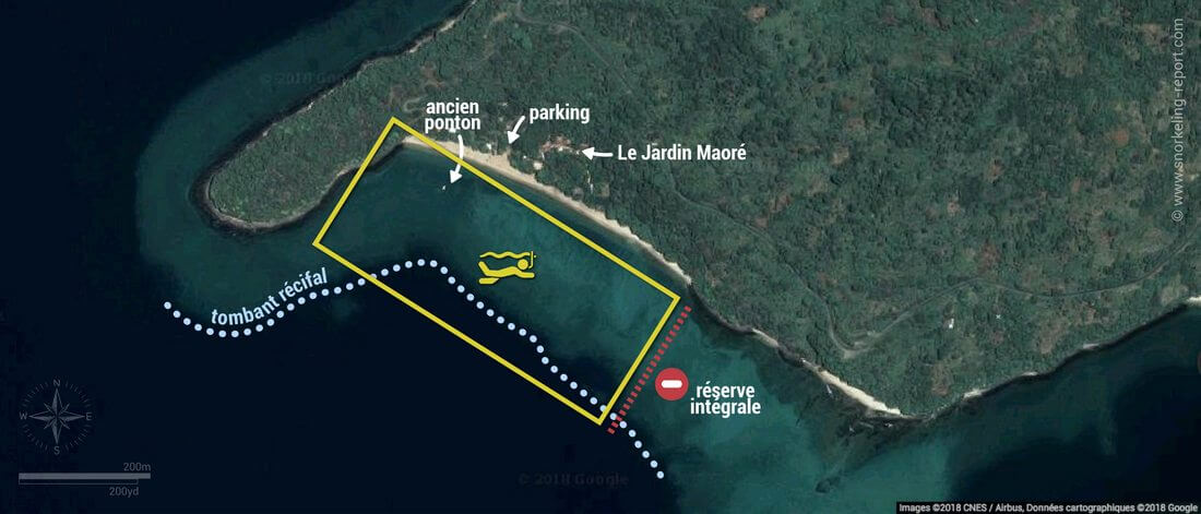Carte snorkeling à N'Gouja, Mayotte