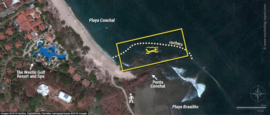 Carte snorkeling à Playa Conchal, Costa Rica