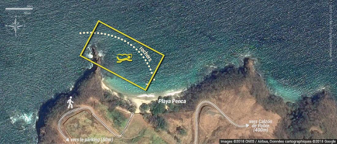 Carte snorkeling à Playa Penca, Costa Rica