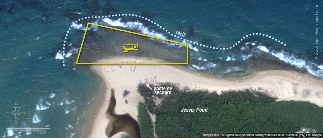 Carte snorkeling à Sodwana Bay, Afrique du Sud