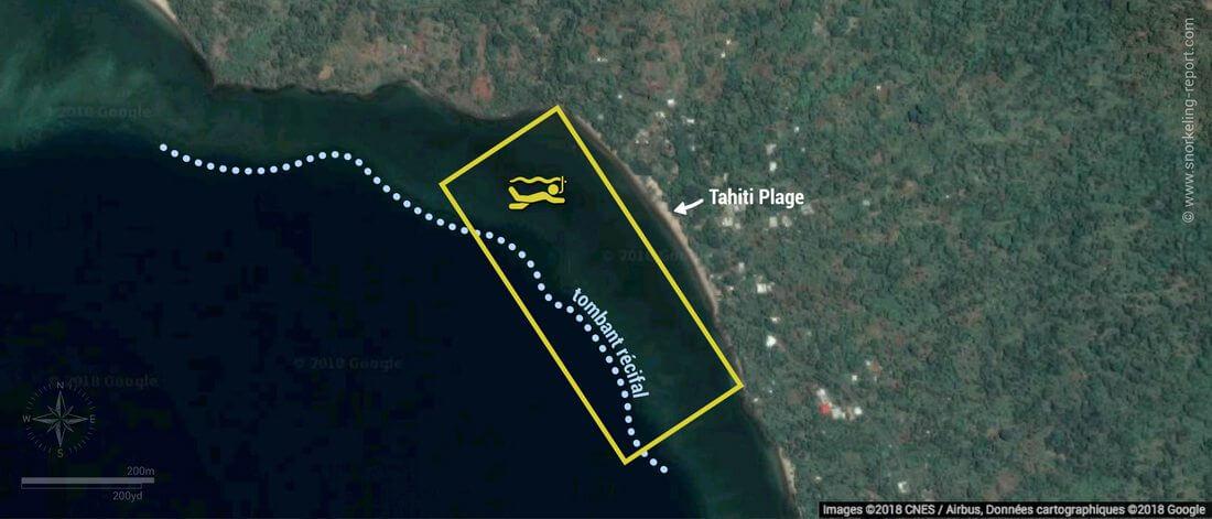 Carte snorkeling à Tahiti Plage, Mayotte