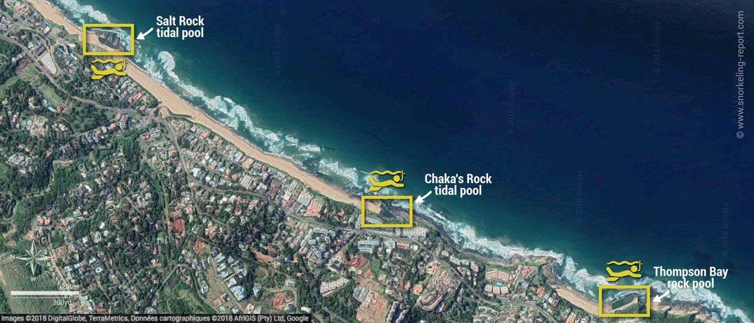 Carte snorkeling dans les Tidal Pools, Dolphin Coast, Afrique du Sud