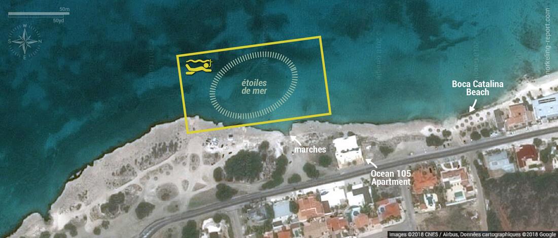 Carte snorkeling à Tres Trapi, Aruba