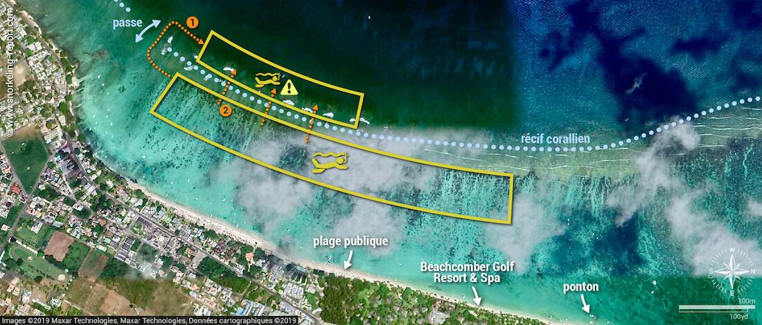 Carte snorkeling à Trou-aux-Biches