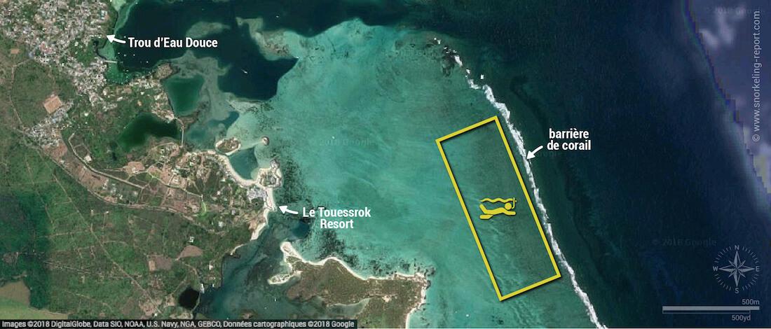 Carte snorkeling à Trou d'Eau Douce, Île Maurice