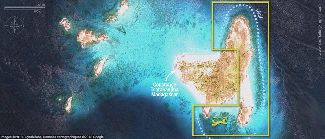 Carte snorkeling à Tsarabanjina, Madagascar