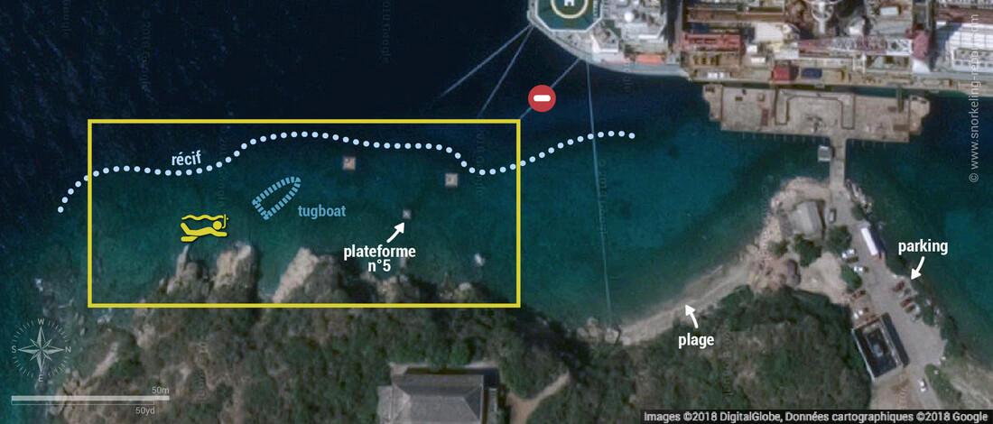 Carte snorkeling sur l'épave du Tugboat, Curaçao