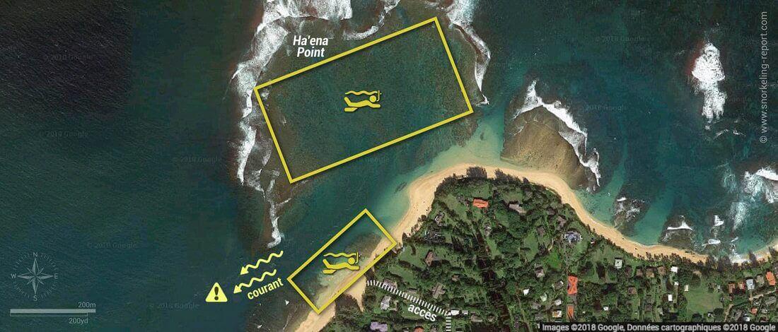 Carte snorkeling à Tunnels Beach, Kauai, Hawaï
