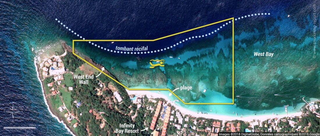Carte snorkeling à West Bay, Roatan