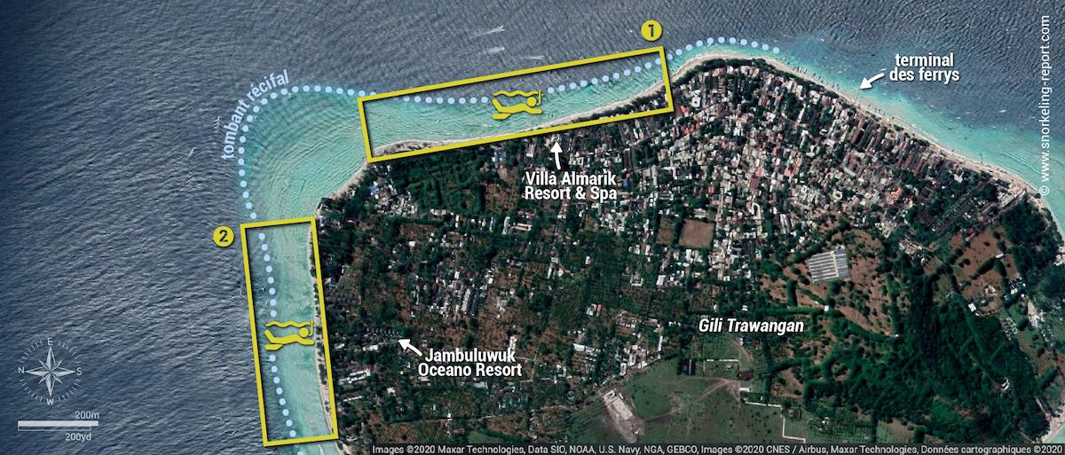 Carte de la zone de snorkeling de Gili Trawangan