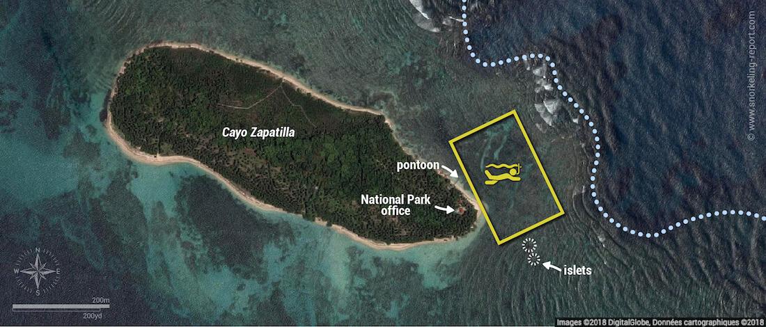 Cayo Zapatilla snorkeling map, Bocas del Toro