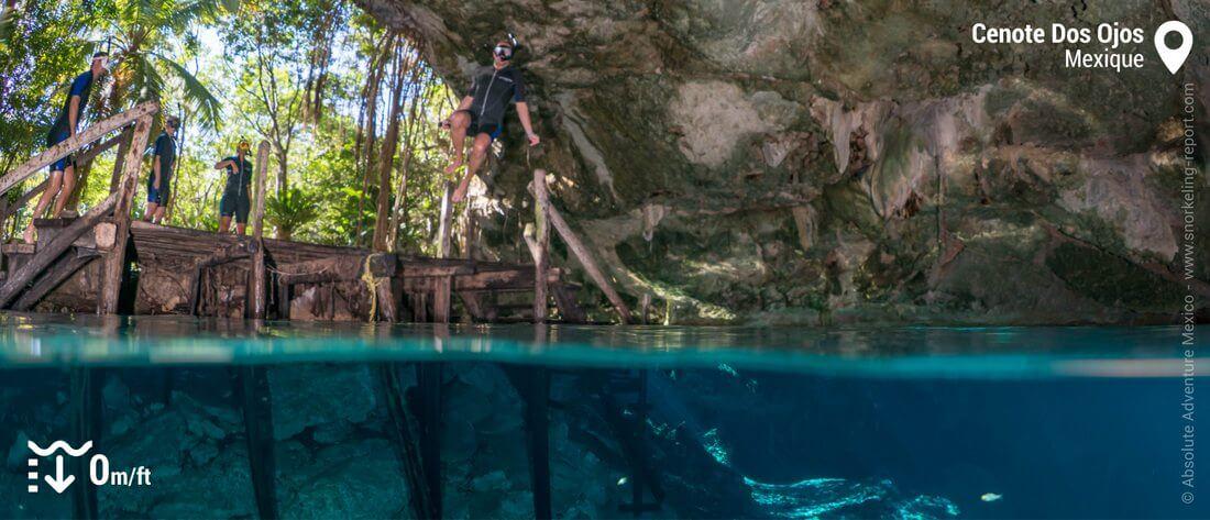 Snorkeling au Cenote Dos Ojos, Mexique