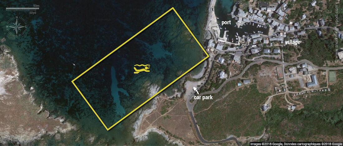 Centuri snorkeling map, Corsica
