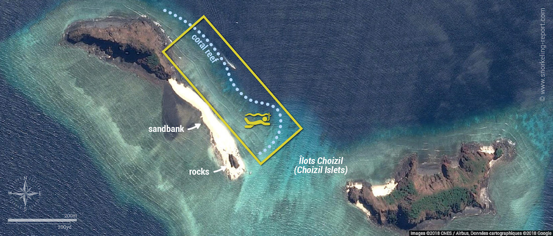 Choizil Islets snorkeling map, Mayotte
