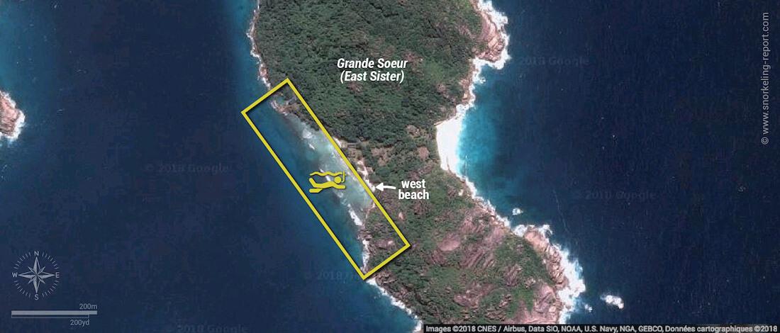 Grande Soeur snorkeling map, Seychelles