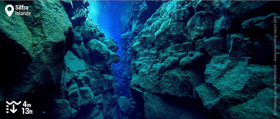 Paysage sous-marin dans la faille de Silfra, Islande